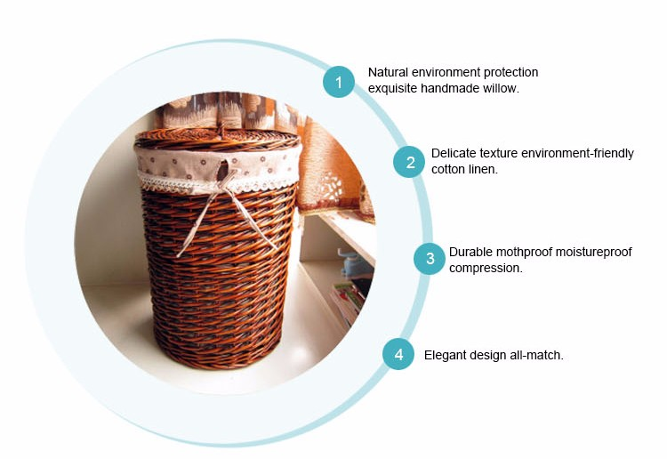 New Design wicker laundry basket for bedroom