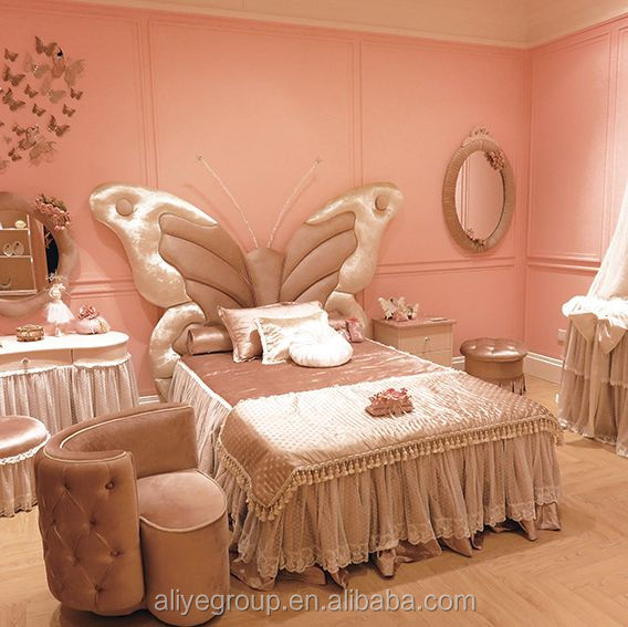 SY102 Fairy light pink european style bedroom sets with Germany beech wood for children bed