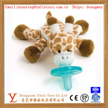 Meet EN71 and ASTM standard ICTI and Sedex factory hot sale baby pacifier with cute plush toys giraffe