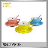 Drinkware ceramic round 250ml porcelain tea cup and saucer with spoon
