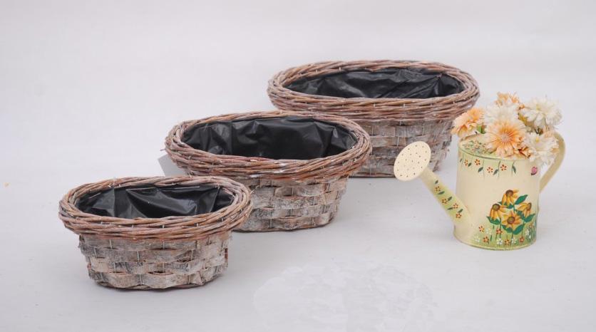 madera antigua chip macetas para la decoracin del sitio