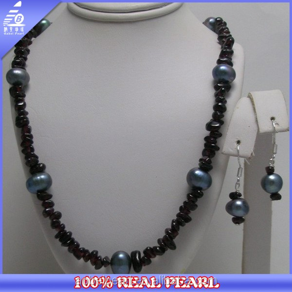 freshwater pearl with garnet chips fashion pearl sets