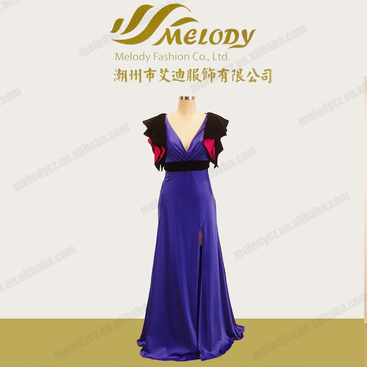 Different color cap falbala sleeve floor-length luxury frivolous dress order