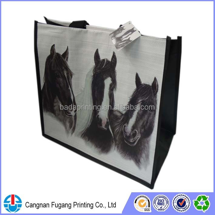 Black pp promotional bag with horse printing