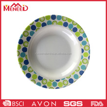 Commercial polka dots decorative round melamine customized modern restaurant plates
