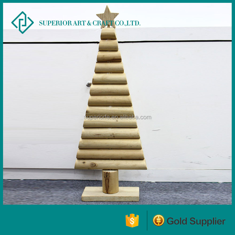 Natural self-colored wooden Crafts christmas tree small wooden christmas tree wholesale
