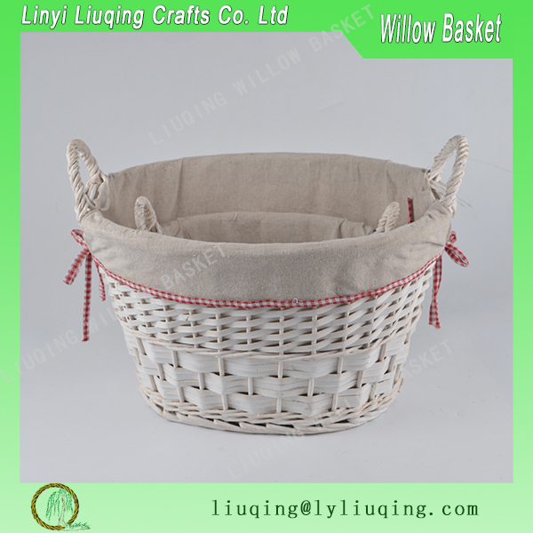 Oval white peeled willow vintage storage basket willow bread basket potato storage basket