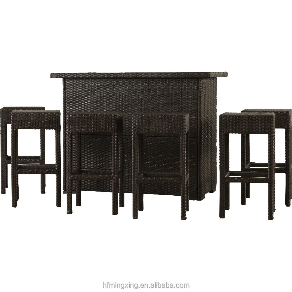 7 Piece Outdoor Rattan Wicker Bar Set