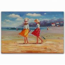 Modern beautiful beach children scenery acrylic pictures of people oil painting