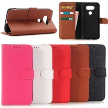 litchi pattern stand wallet lether Cover Case for LG G5 with card slots , For LG5 mobile phone case