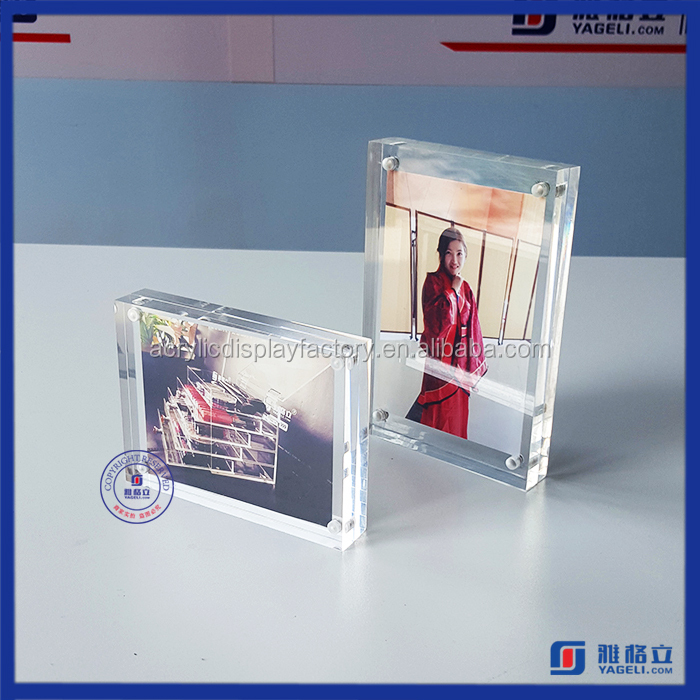 Pure handmade lucite frame clear double sided acrylic block picture frames