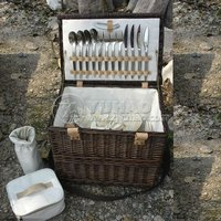 Luxury Antique Picnic Basket For Four