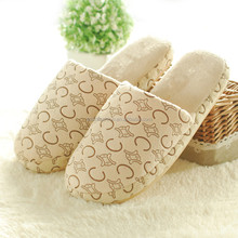 t160430 Autumn Winter Women Shoes Casual Soft Indoor Coral Fleece Letters Pattern Girls Ladies Couple Slippers