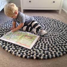 wool felt ball rug for kids floor carpent/mat 100% pure wool 100cm*100cm