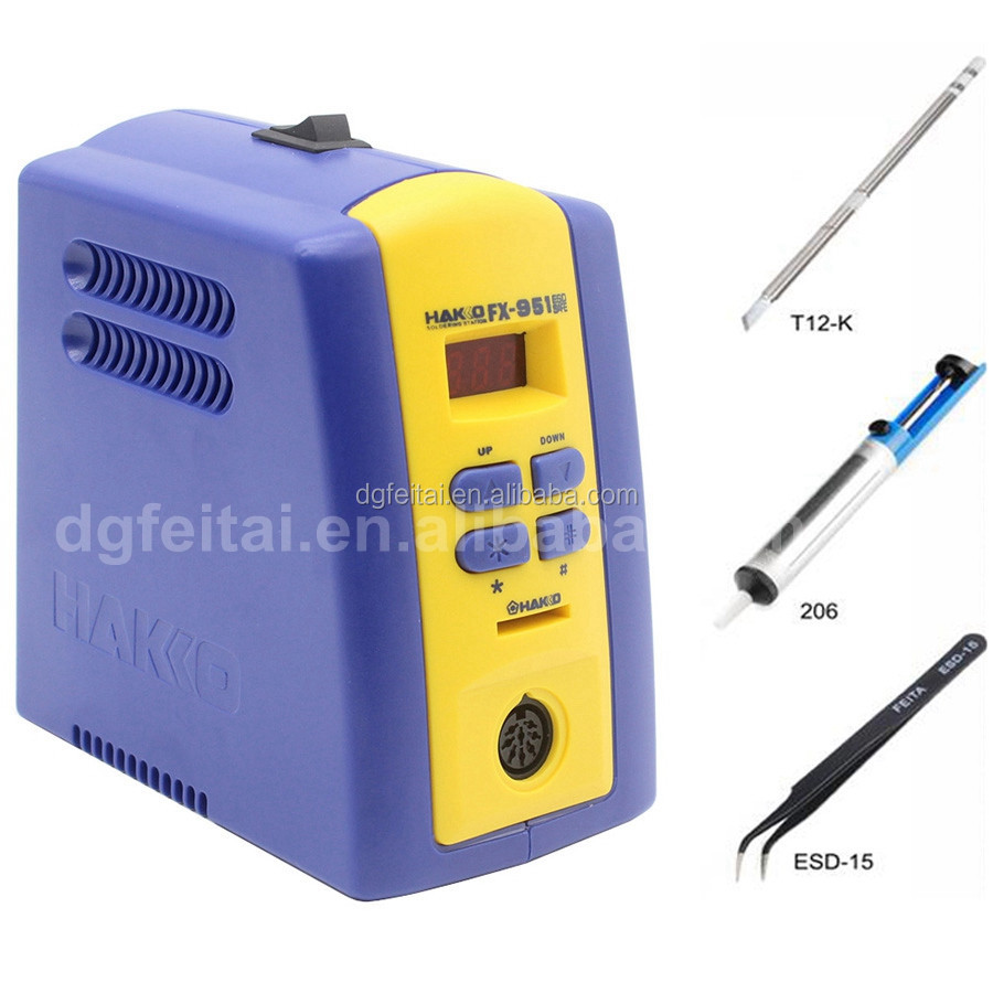 digital 70W HAKKO soldering iron station fx-951,smart mobile repair tools soldering station with T12-<strong>K</strong> tips,ESD tweezers