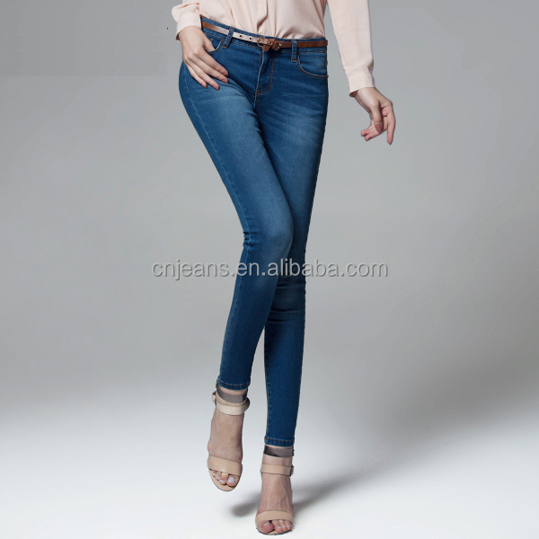 GZY fashion hot selling cotton skinny denim blue jean suits for women