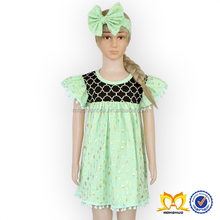 Mint Green Gold Arrow Printing Latest Dress Designs Photos Girls Cotton Frock Designs