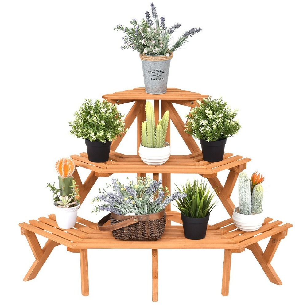 3-Tier Free Standing Plant Stand Corner Flower Pot Holder Display Rack Stand, Natural Wood