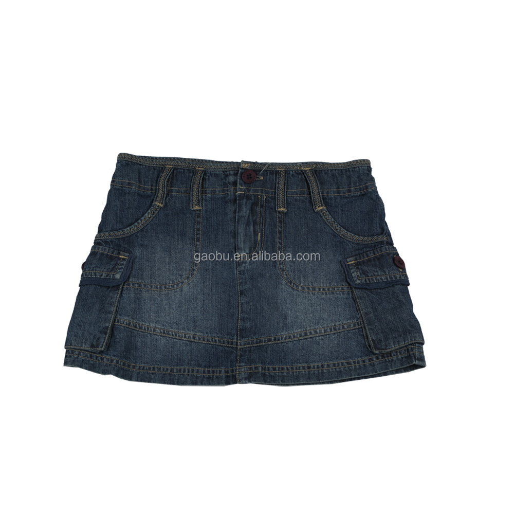 School Children's Wear Girls Short Skirt 100% Cotton Denim Style Design