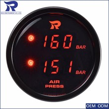 individual Black Air bags Dual Digital Display pressure gauge for board air suspension