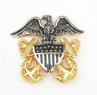 Hot sale US Navy Officer Hat official metal badge. with free mould fee