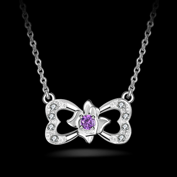 Stylish Butterfly Tie Silver Plated Coloful CZ Butterfly Pendant