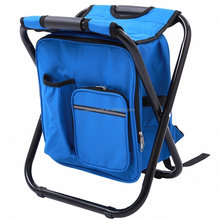 Portable camping fishing chair backpack cooler bag with stool