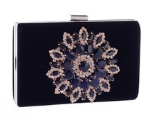 Luxury high quality navy blue velvet rhinestones evening bag clutches for women