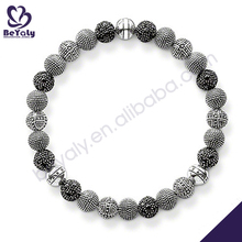 Black beads fashion bracelet old fashioned charm bracelets