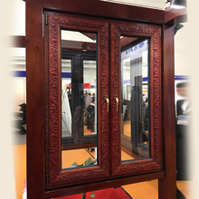 2018 latest rosewood carving French casement window with double glass