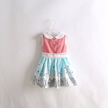 Hot Sale Girls Dresses Pink and Blue Girl Dresses Patton Print Cute Summer Dress Kids Clothing Baby And Big Girls Wear GD40415-1