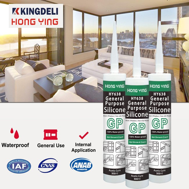 General purpose indoor glass acetic silicone sealing