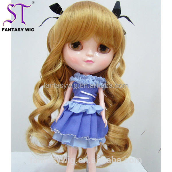 China Wholesale Long Wavy Blonde Heat Resistant Synthetic Doll Wig 10 Inch Cheap Doll Wigs For 18inch American Girl