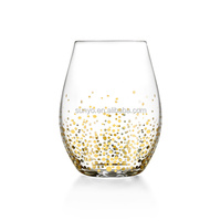 Customized 20oz leadfree crystal stemless wine glass with gold spot stars luxury glassware supplier