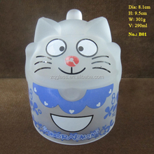 290ml 10oz Cheap Promotional Machine-made Color Printing Cat Garfield Face Frosted Tea Coffee Glass Mug Cup Glasses