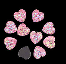 flat back ab color heart shape resin sew on stones
