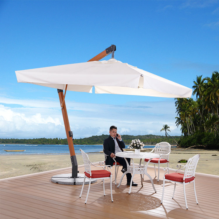 3X3M Heavy Duty Wooden Garden Parasol Outdoor Hanging Umbrella