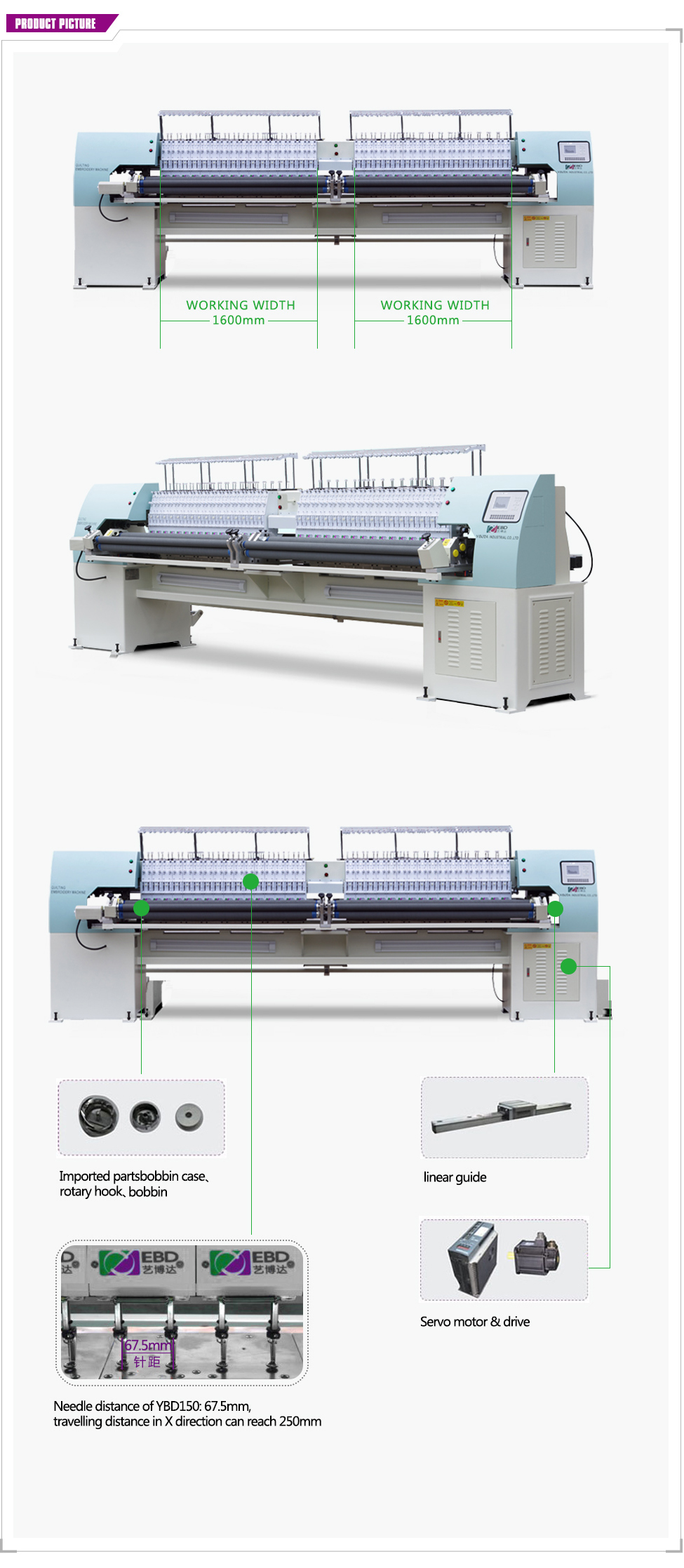 YBD164 sectionalized automatic High Speed quilting embroidery machinery