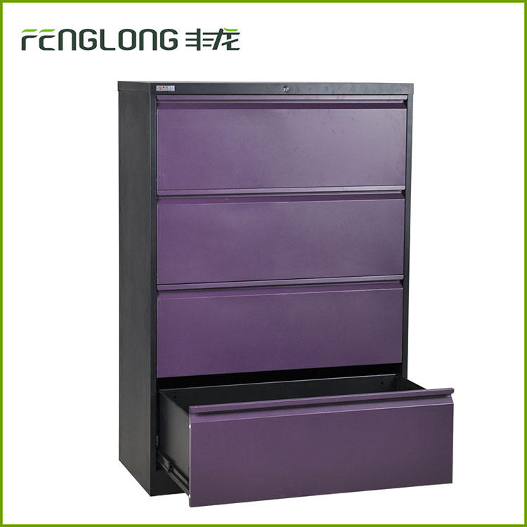 2016 new design purple color 4 drawer lateral steel office filing cabinet