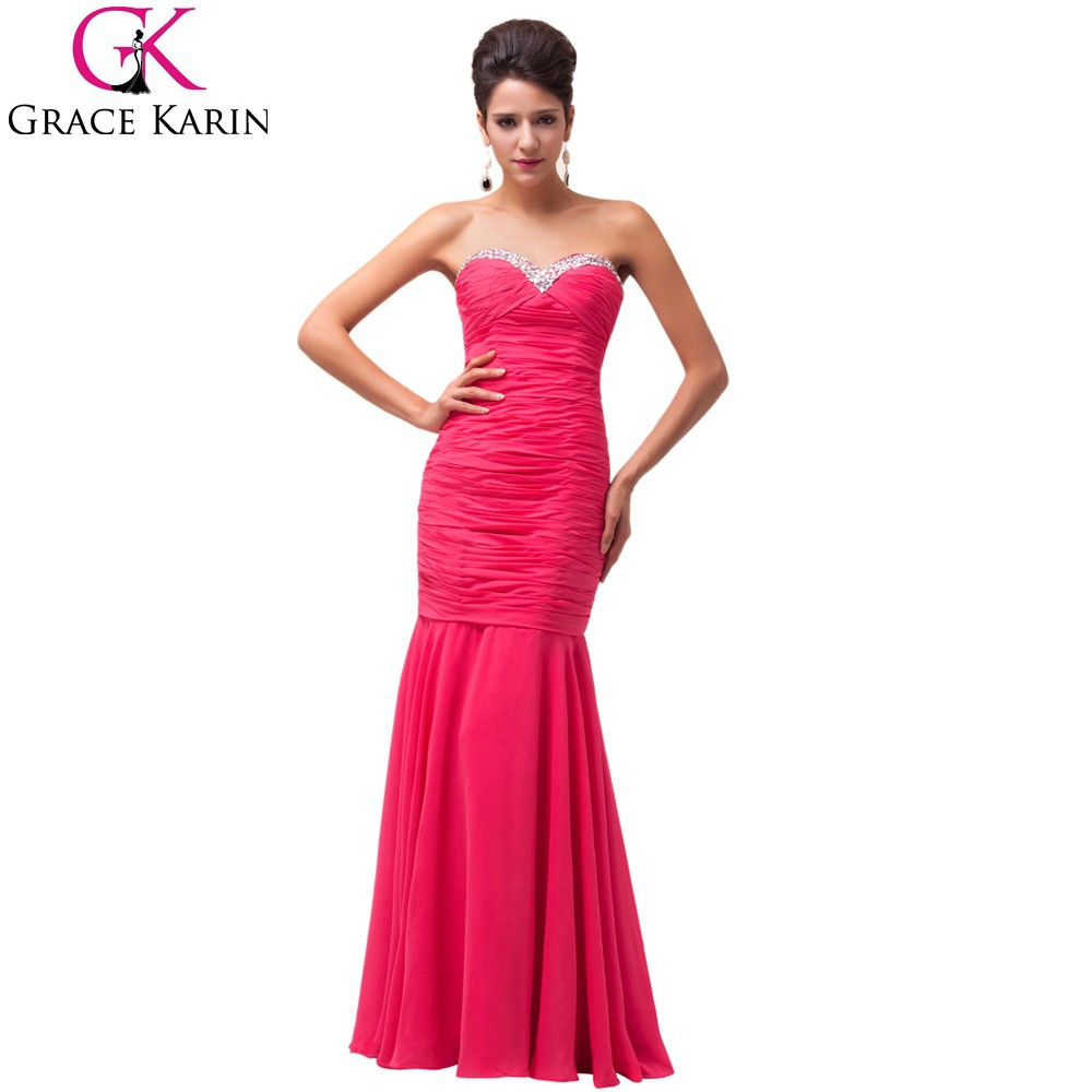 Grace Karin Ladies Strapless Sweetheart Long Deep Pink Chiffon Evening Party Gowns CL6060