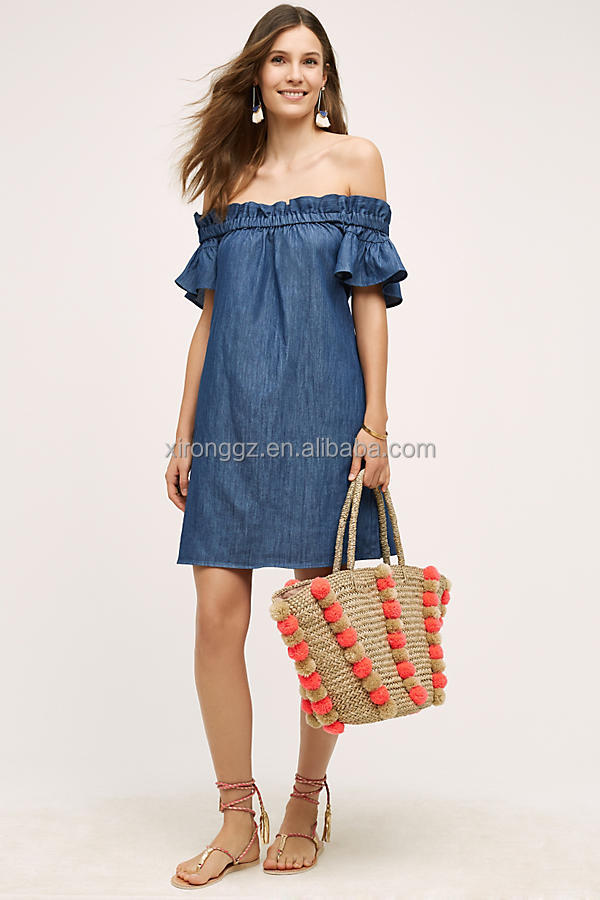 OEM women clothes off shoulder chambray dress fashion new style summer ruffle dress
