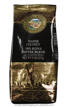 toasted coffee blend pouch, customized coffee bags, plastic coffee bags with side gusset