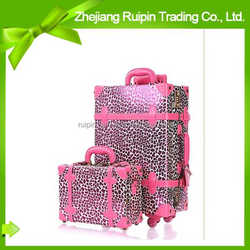 2014 popular fashion travel pu animal print luggage