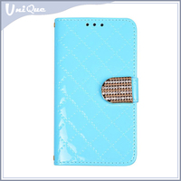 New products bling diamond grain magnetic button PU leather mobile phone case cover for Samsung Galaxy S5 with chain