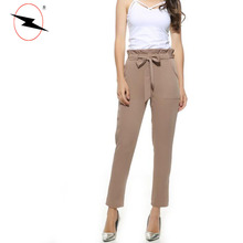 Fashion chiffon bow tie three quarter design ladies pants