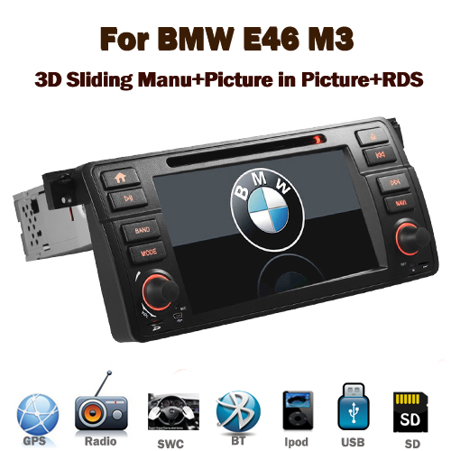 "7"" HD Capacitive Touch Screen Car DVD GPS for BMW E46 M3 With 3G GPS Bluetooth Radio RDS USB IPOD Steering wheel control Canbus"