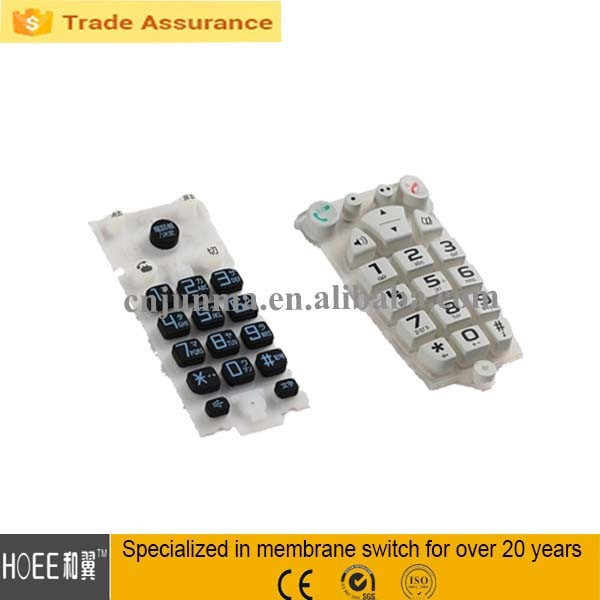 soft mobile phone function rubber keypad with big buttons
