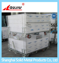 Industrial stackable collapsible wire mesh container with wheels