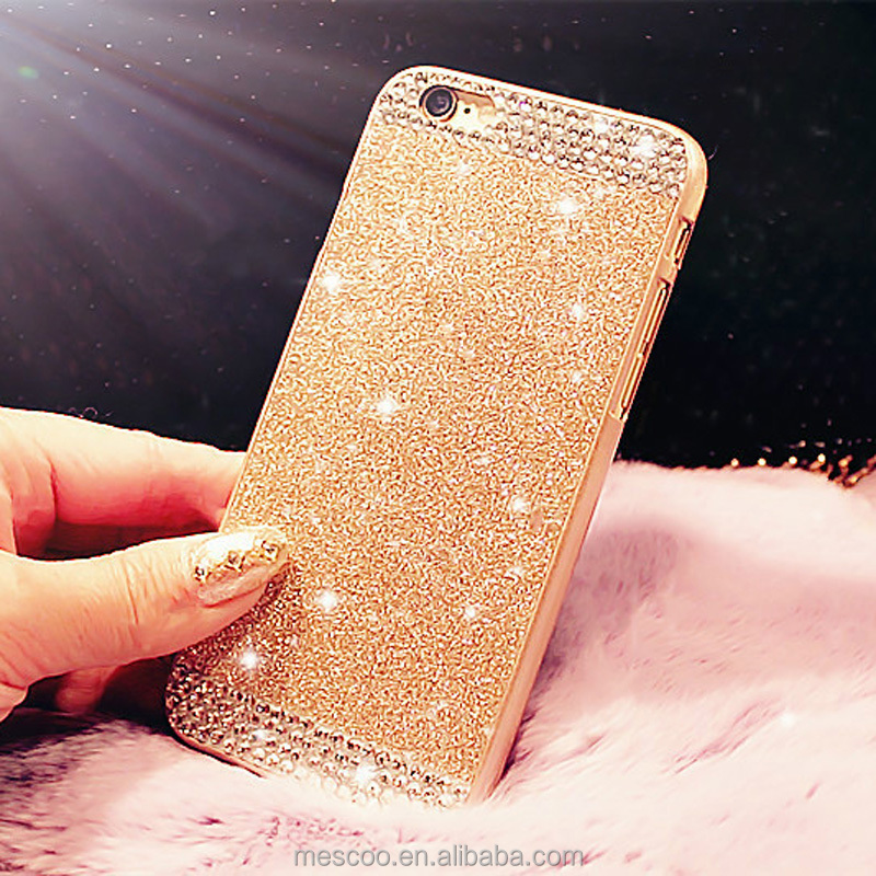 Hot ! Glitter powder Rhinestone bling Hard phone case for iphone 5 5s 6 6s 6s 6Plus 6sPlus diamond crystal back cover Sparkle