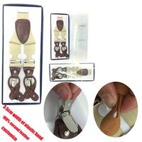 High Quality Leather+ Metal Clip Mens Black Durable Clip-on Trouser Braces Suspender